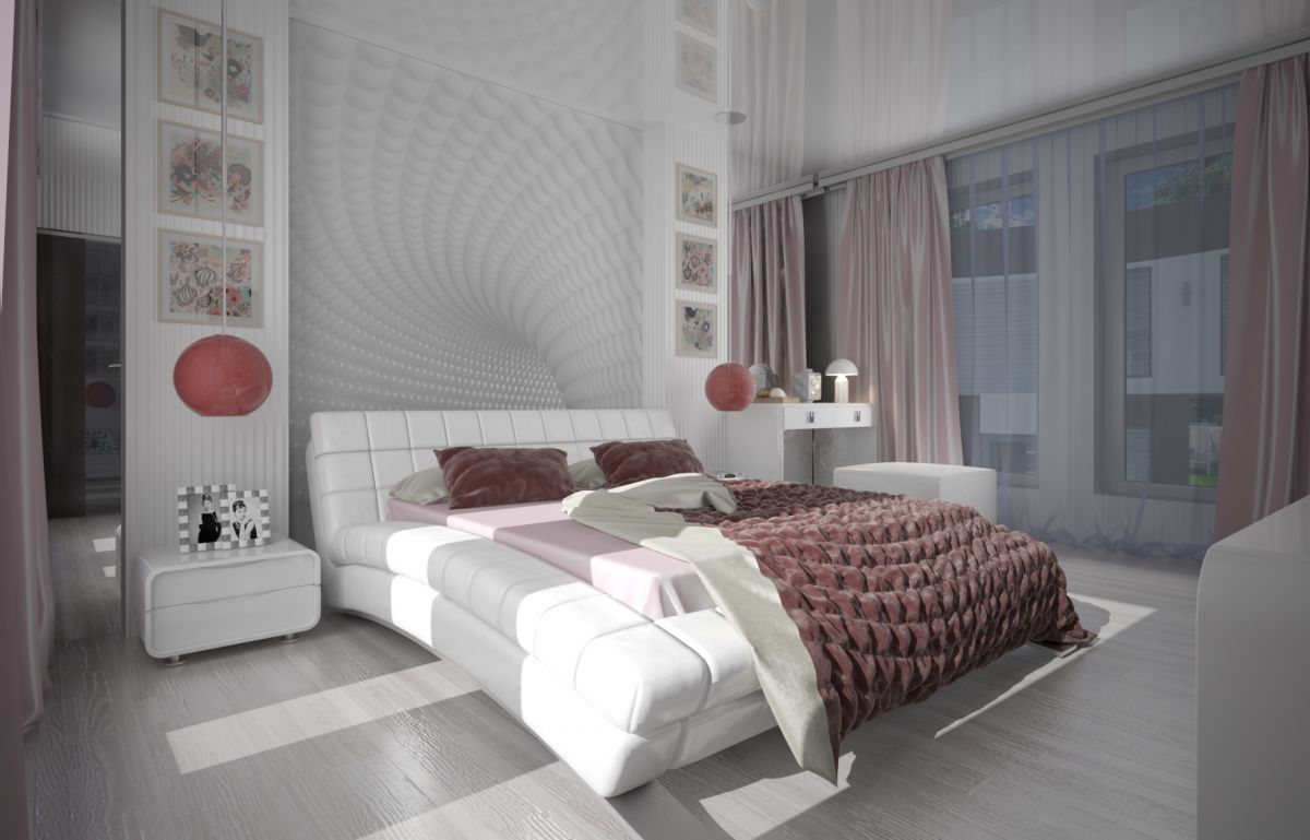 A bedroom in a Modern style.