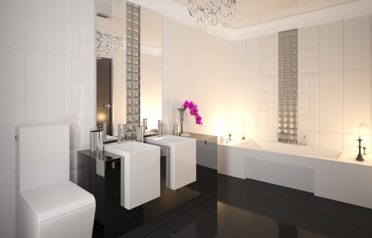 A bathroom in an Art Deco style
